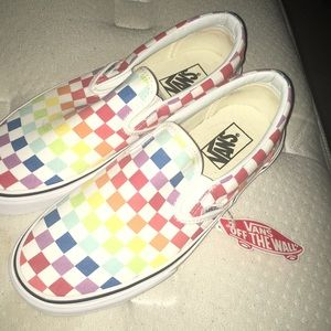 Vans Shoes - Vans Slip-On Rainbow Chex Skate Shoe 296a81c0c